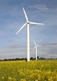 Windmills and rape field Stock Photos
