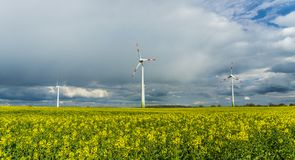 Windmills on a field. With partly cloudy sky royalty free stock photo