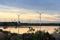 Windmills reflection at dawn Stock Photos