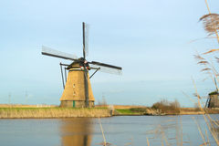Windmills with reflection in the water Royalty Free Stock Photos