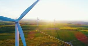 Windmills, Reneval energy, Ecology background. Windmill and Wind power technology background. Aerial view on Wind Power, Turbine, Windmill, Energy Production stock footage