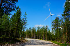 Windmills for renewable electric energy production, Finland Royalty Free Stock Image