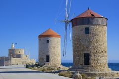 Windmills of Rhodes town, Greece Royalty Free Stock Photography