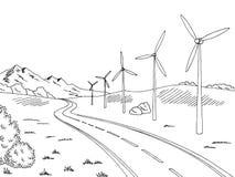 Windmills road graphic black white landscape sketch illustration. Vector Stock Photo