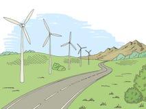 Windmills road graphic color landscape sketch illustration vector. Windmills road graphic color landscape sketch illustration Royalty Free Stock Photos
