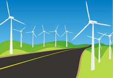 Windmills and roads Royalty Free Stock Photos