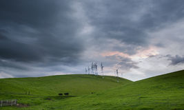 Windmills, rolling hills and ranch scene in Spring, California Stock Images