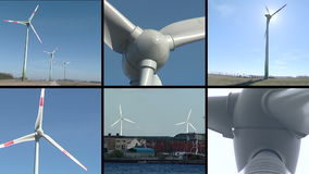 Windmills rotate in wind. Renewable energy. Video clips collage. stock video footage
