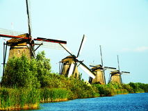 Windmills in a Row, Kinderdijk Royalty Free Stock Photos