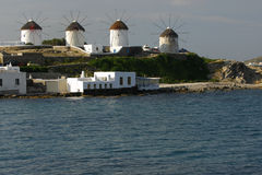 Windmills in a row, Mykonos Stock Image