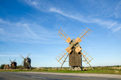 Windmills row Stock Photography