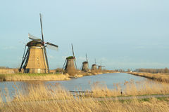 Windmills in a row Royalty Free Stock Photo