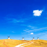 Windmills, rural green fields, blue sky and small cloud. Consuegra, Spain Stock Images