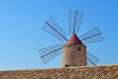 Windmills in Saline Stagnone of Marsala, Trapani Stock Photos