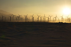 Windmills and Sand at Sunset 1. Windmills and Sand at Sunset near Palm Springs, CA Stock Photos