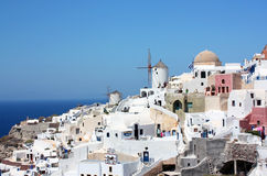 Windmills in Santorini Stock Photo