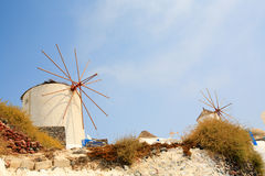Windmills in Santorini Greece Royalty Free Stock Images