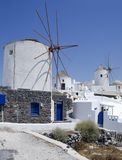 Windmills in Santorini Island Royalty Free Stock Photography