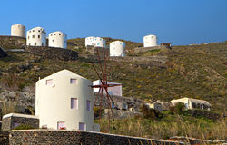 Windmills at Santorini island, aegean sea Royalty Free Stock Photography