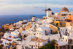 Windmills on Santorini island Stock Photos