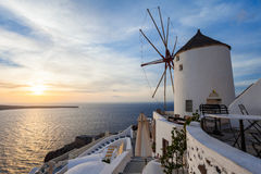 Windmills on Santorini island Royalty Free Stock Photography