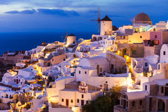 Windmills on Santorini island Royalty Free Stock Image