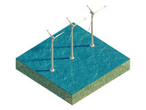 Windmills of the sea on a plot of land isolated on white. Windmills of the sea on a plot of land. 3d rendering Stock Image