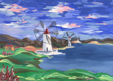 Windmills on the shore. Of the lake under the colored beautiful sky on the background of the rural landscape. Painting in gouache on paper Royalty Free Stock Photos