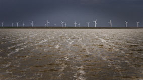 Windmills on the shore. Renewable energy concept with windmills on the shore of a lake during a storm Stock Image