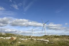 Windmills on the Sierra Carape, Uruguay Royalty Free Stock Images