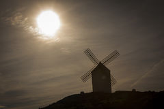 The windmills in silhouette Royalty Free Stock Images