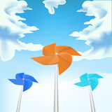 Windmills on sky background,  Royalty Free Stock Photography