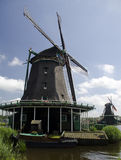 Windmills and small boat Royalty Free Stock Photos