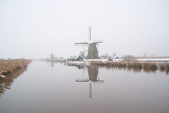 Windmills in the snow Royalty Free Stock Image