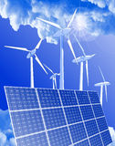 Windmills, solar power systems & blue sky Stock Photography