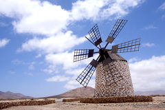 Windmills in Spain. Island fuertawentura Stock Photography