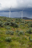 Windmills before storm Royalty Free Stock Photos