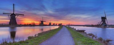 Windmills at sunrise at the Kinderdijk, The Netherlands Royalty Free Stock Image