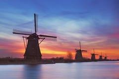 Windmills at sunrise, Kinderdijk, The Netherlands Stock Photography