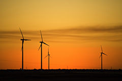 Windmills in the sunset Stock Photography