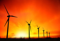 Windmills and sunset Stock Photography