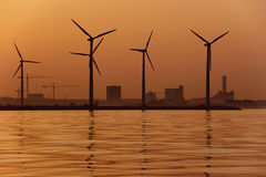 Windmills at sunset Stock Photography