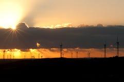 Windmills at Sunset Royalty Free Stock Photos