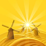 Windmills at sunset background. stock illustration