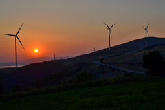 Windmills at sunset in Banat (Romania) Royalty Free Stock Image