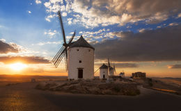 Windmills at sunset, Consuegra, Castile-La Mancha, Spain. Windmills at sunset, Consuegra, Castile-La Mancha in Spain Stock Image