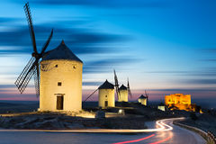Windmills after sunset, Consuegra, Castile-La Mancha, Spain. Windmills after sunset, Consuegra, Castile-La Mancha in Spain Stock Images