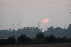 Windmills at sunset. Royalty Free Stock Photos