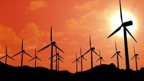 Windmills at sunset stock video