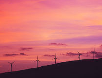 Windmills at Sunset Stock Photography